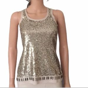 NWT White House/Black Market gold sequin top